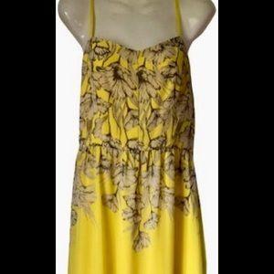 Spaghetti strap yellow maxi dress